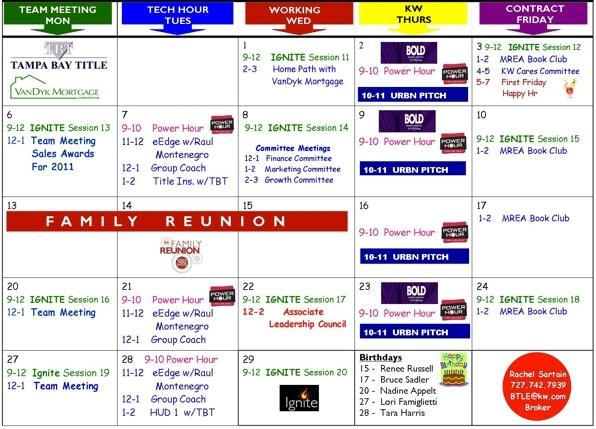 Keller Williams Heritage Training Calendar