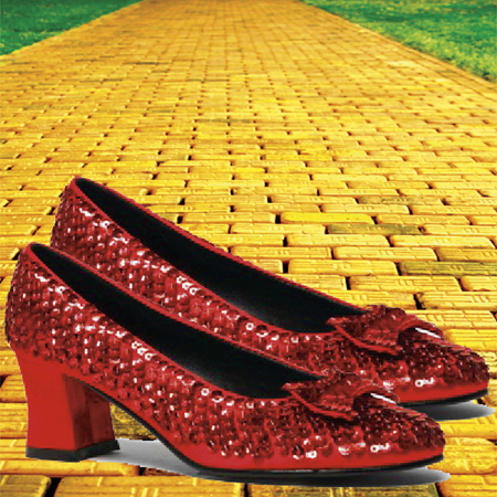ruby red slippers on the yellow brick road