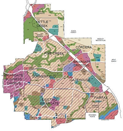 Map of the Briargate Master-Planned Community of Colorado Springs