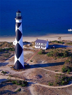 Overhead View of the Cape Look Out Lighthouse National Seashore