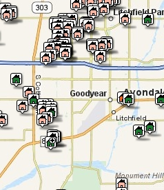 Goodyear-Scottsdale Area Listings by Map