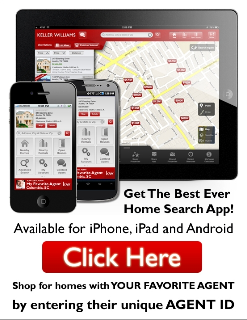 Download our Keller Williams Realty Columbia, SC Mobile App. Shop for Homes with YOUR Favorite Agent!