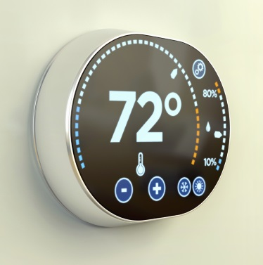 Smart home thermometer on the wall